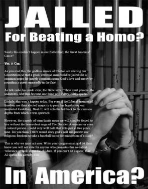 Jailed for beating a homo