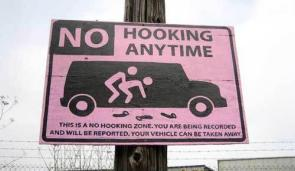 No Hooking Warning Sign