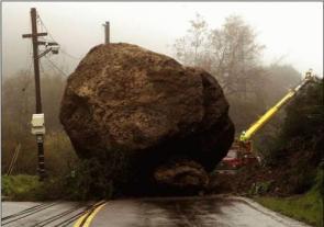 Big Rock In Road
