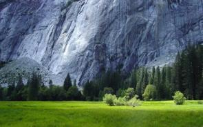 White Mountain Wall With Green Fields Wallpaper