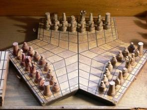 Three way chess board