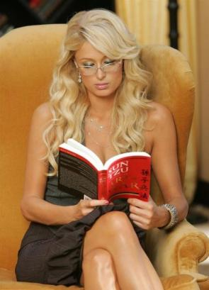 paris hilton reading a book