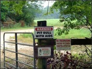 warning – pit bull with aids