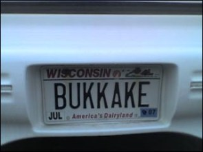 Bukkake License Plate