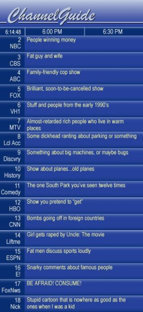 Realistic TV Schedule