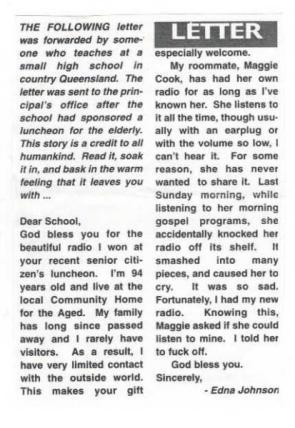 Dear school, thanks for the radio