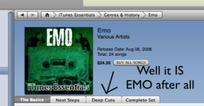 Itunes Music Store hates EMO too