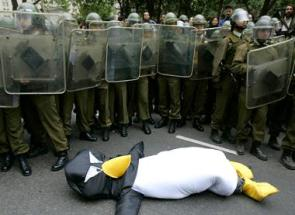 Riot Police vs. Penguin