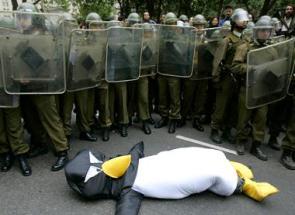Riot Police vs. Penguin