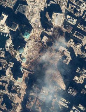 Trade Towers Ground Zero Satellite Photo