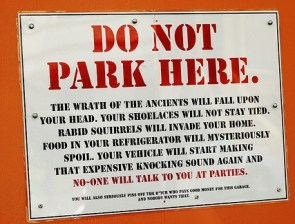 Do Not Park Here sign