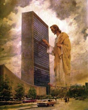 jesus christ knocking on the united nations building