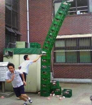 Falling Stack of Milk Crates