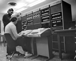 Dennis Richie and Brian Kernighan using a PDP-11