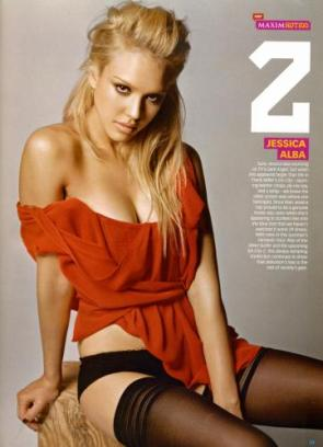 NSFW – Jessica Alba – Red Top And Stockings