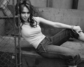 Jessica Alba – Black and White With Cross