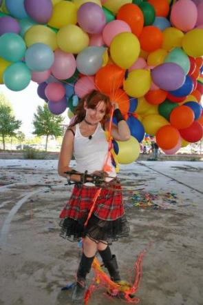 Kari Byron With Balloons and Wolverine Claws