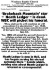 Westboro Baptist Church Vs Heath Ledger