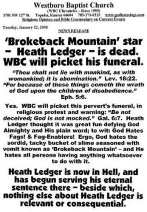 Westboro Baptist Church Vs Heath Ledger