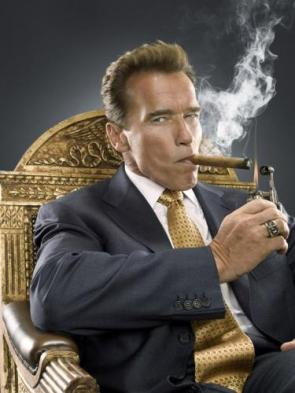 arnold schwarzenegger's suit and cigar