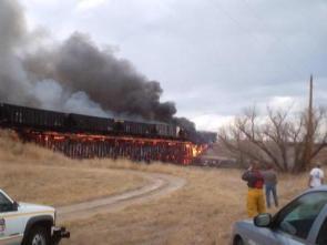 Flaming Train Bridge