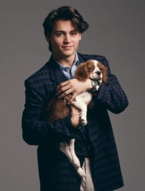 Johnny Depp with puppy