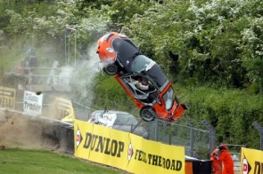Moto Racing Car Flip Over Fence