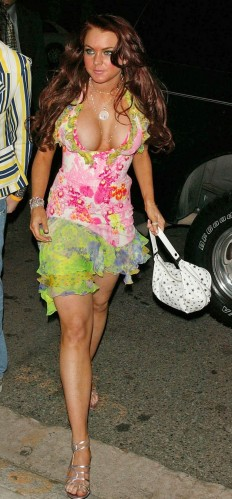 lindsay lohan – popping out in a flower dress