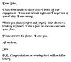 Dear John, I love you