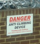 Anti Climbing Device with British sense of humour