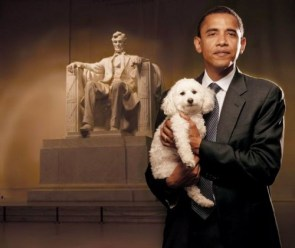 Obama with Dog in front of Lincoln Memorial