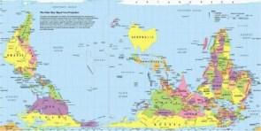 World map by Australia