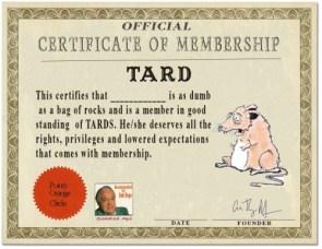 Tard Certificate of Membership