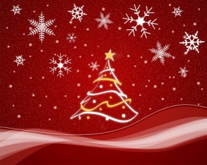 christmas tree and snow – in red