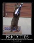 Priorities – If it's wrong to spend all day drinking beers with your otter, then I don't want to be right