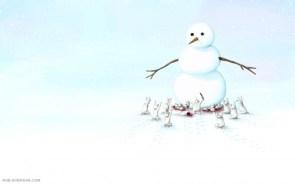 snow men worship giant snowman