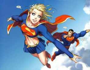Supergirl and Superman in the clouds