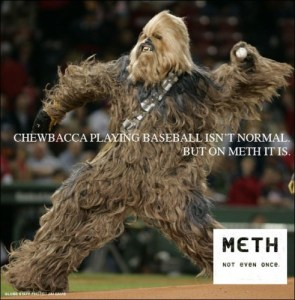 chewbacca playing baseball isn't normal – but on meth it is