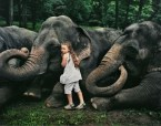 girl with elephants