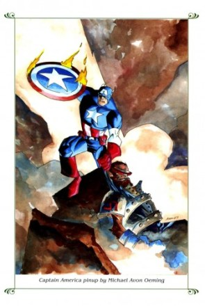 Captain America pinup by Michael Avon Oeming