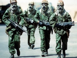 soldiers in gas masks