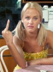 dopey blonde gives you the finger