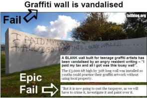 Graffiti wall is vandalised