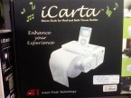 icarta – stereo dock for ipod and bath tissue holder