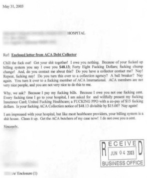 Re – Enclosed letter from ACA Debt Collector