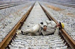 sleepy train worker