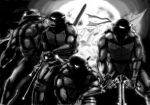 TMNT in black and white