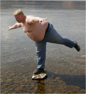 fat man on stone