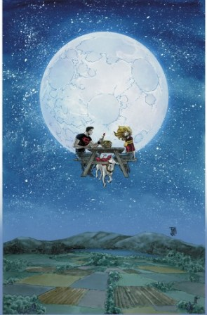 superboy wondergirl and krypto have a moon picnic