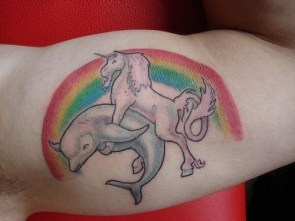 unicorn fucking a dolphin tattoo